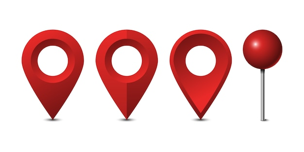 Red map pins set isolated on white background
