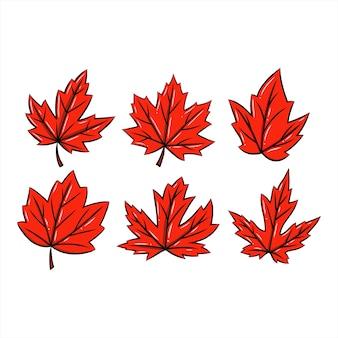 Красный кленовый лист в рисованной набор символ осеннего сезона