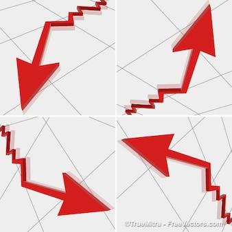 Red marketing arrows vector