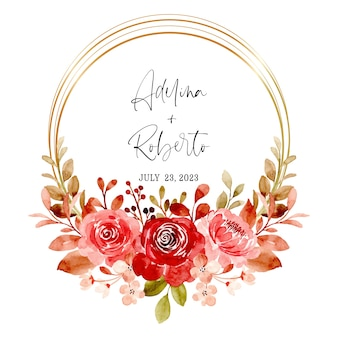 Red maroon floral wreath with watercolor