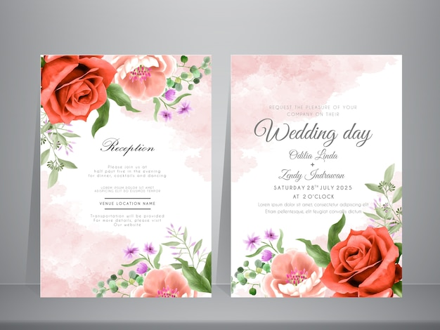 Red maroon and pink peach roses watercolor wedding invitation template