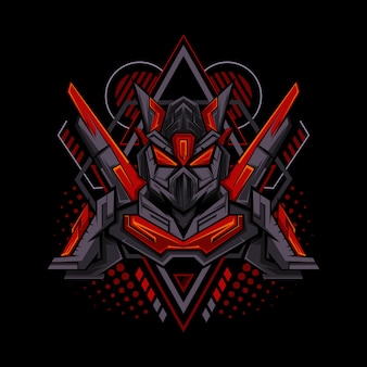 Red mecha geometry style