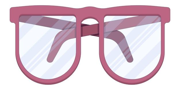 白い背景に分離されたフラットスタイルの赤い医療用老眼鏡眼科医クリニック