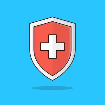 青で隔離の赤い医療シールド保護アイコン