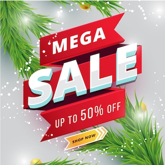 Red mega sale banner with winter background
