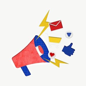 Grafica colorata megafono rosso per la pubblicità digitale