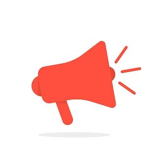 影付きの赤いメガホンアイコン。ディスプレイ広告、情報の共有、情報の普及の概念。白い背景で隔離。フラットスタイルトレンドモダンなロゴタイプデザインベクトルイラスト