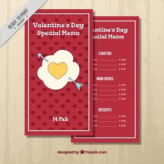 Красное меню с желтым сердцем на день святого валентина