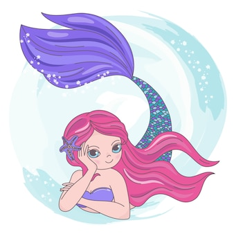 Red mermaid cartoon travel tropical