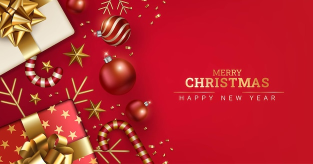 赤いメリークリスマスと新年あけましておめでとうございます背景デザイン
