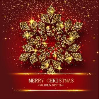 Красная поздравительная открытка с рождеством и новым годом с красивой золотой светящейся снежинкой