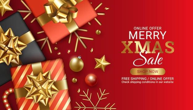 Красный счастливого рождества и счастливого нового года продажи баннер дизайн иллюстрация