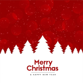 Red merry christmas background with tree