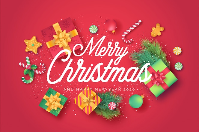 Red merry christmas greeting card with cute ornaments