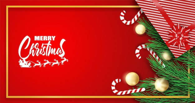 Red merry christmas greeting card