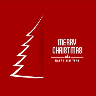 Red merry christmas minimal festival card design