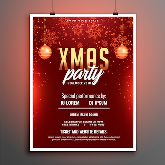Red merry christmas party celebration flyer poster