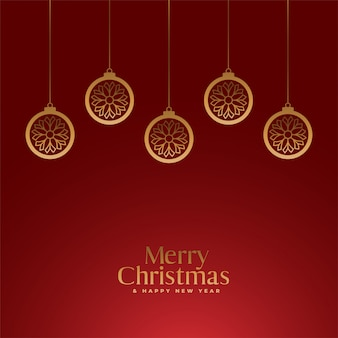 Red merry christmas royal background with golden balls