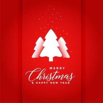 Red merry christmas tree background