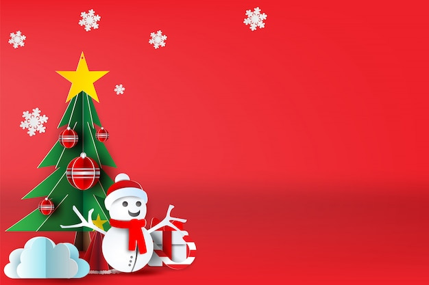 Red merry christmas with scene place your text.