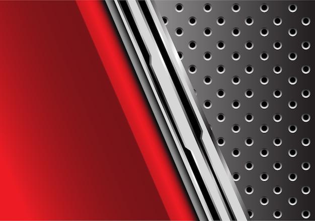 회색 원형 메쉬 배경으로 빨간 금속 미래입니다.
