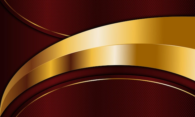 Red metal and golden curved stripes background. vector illustration. luxury background for design.