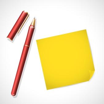 Красный металлический перо с крышкой на белом фоне. текстовое пространство. написание значка инструмента офиса. металлическая текстура. написание макета. ручка крупным планом. текстовое сообщение. бизнес, написание иллюстрации.
