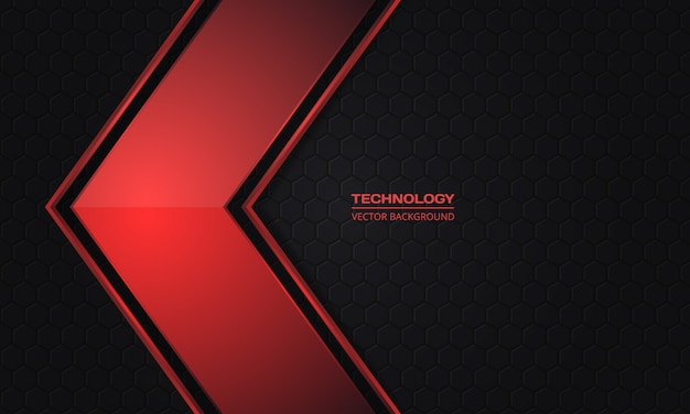 Red metallic arrow on a abstract dark hexagonal grid background.