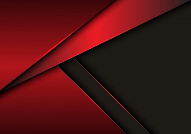 Red metallic overlap on grey blank space background.