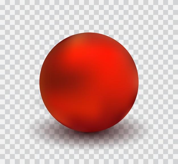 透明な背景、リアルなベクトル図に分離された赤いmettalic球