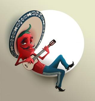 Красный мексиканский острый перец чили в сомбреро играет на гитаре