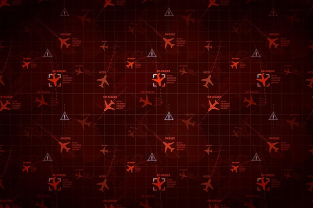 Red military radar with planes traces and target signs, wide detailed background