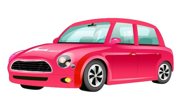 赤いミニクーパー漫画イラスト。クリムゾンの昔ながらの自動車カラーオブジェクト。白い背景の上のヴィンテージの個人用車両。都市交通、新しいスタイリッシュな自動車
