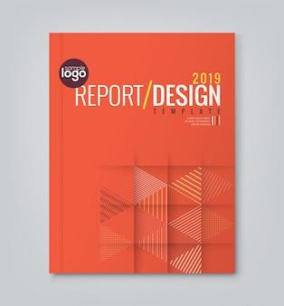 Red minimal geometric annual report template