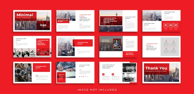 Красный минимальный шаблон презентации слайдов powerpoint