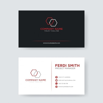 Red minimalist business card