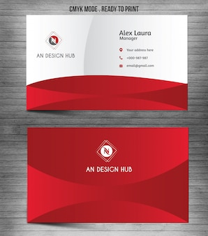 Red modern abstract business card template