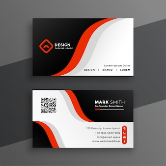 Red modern business card design template