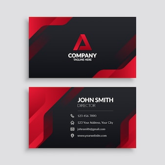 Red modern business card template