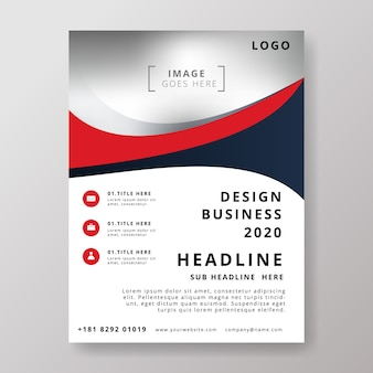 Red modern business flyer design template