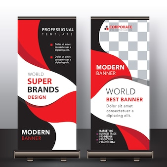 Red modern roll up banner