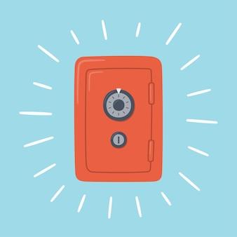 赤いお金は無事に閉じました。コンビネーションロック付きスチールキャビネット。ストロングボックスを輝かせます。富、安定、安全の象徴