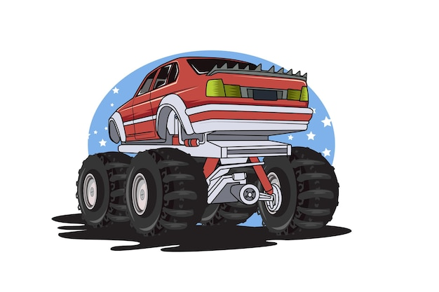 Red monster truck illustration hand drawing