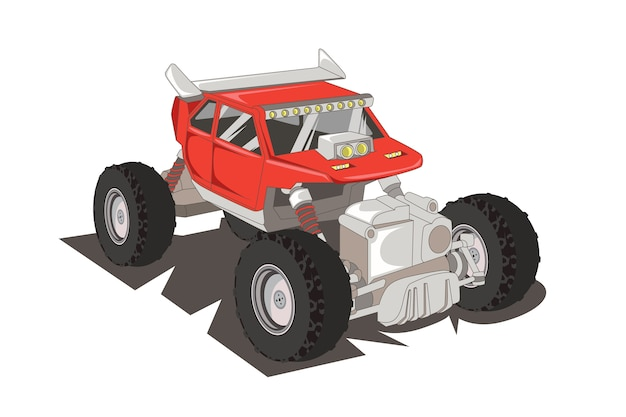 赤いモンスタートラックイラストベクトル