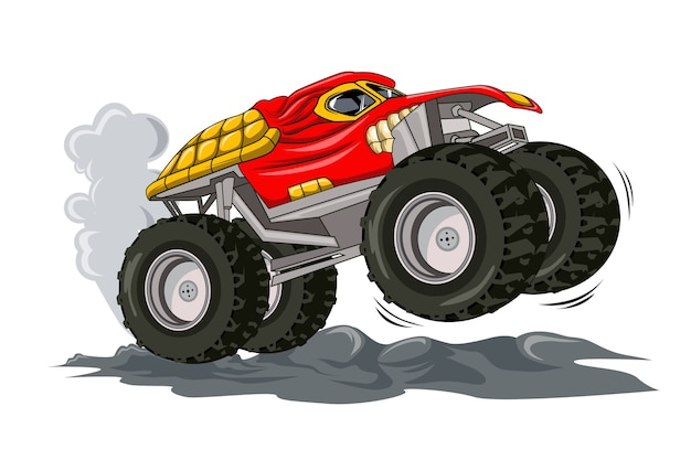Red monster truck jumping car illustration