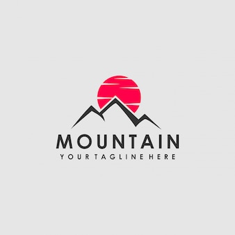 Red moon mountain logo design
