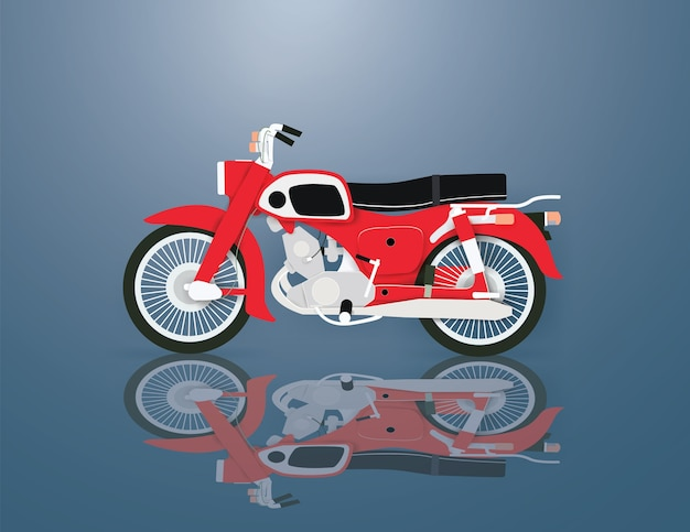 Red motorcycle on the blue background