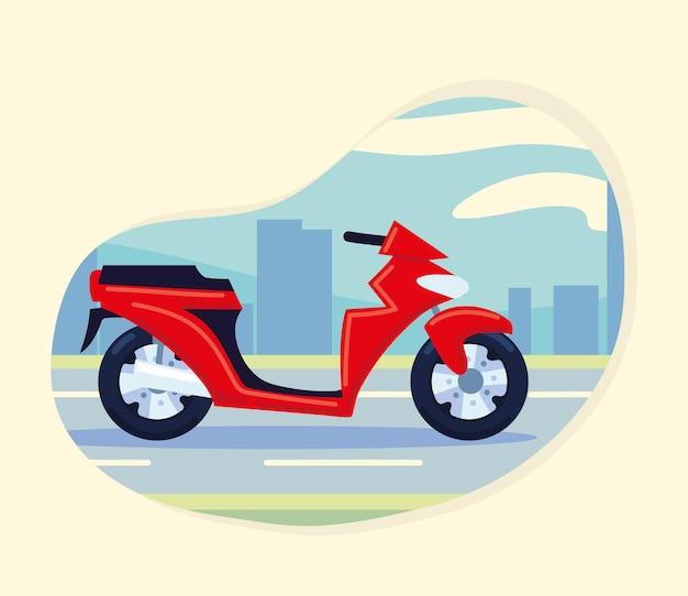 도시에있는 빨간 오토바이