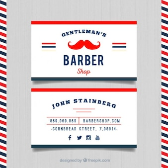 Red moustache barber card
