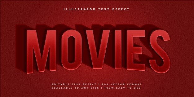 Red movie long shadow text style font effect